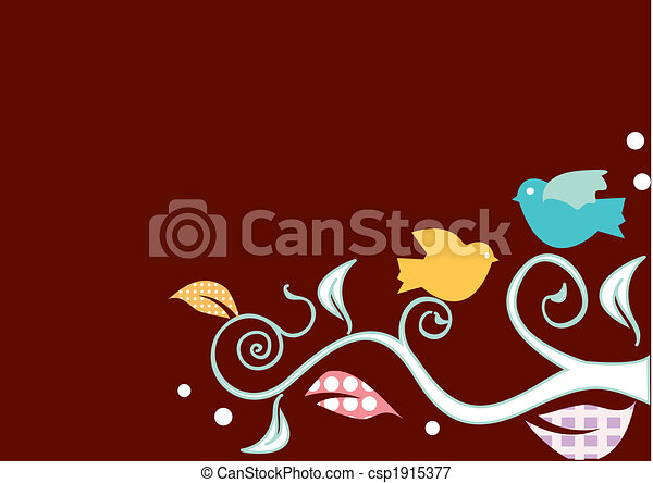 Birds on swirly trees - csp1915377