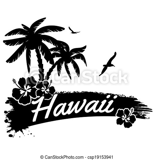 Hawaii Line Drawing Hawaii Poster Csp19153941