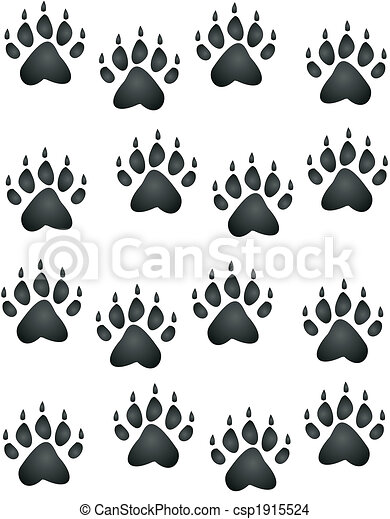 Eps Vector Of Bear Paw Print Bear Or Cub Paw Prints All