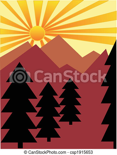 Sun rising over the mountains - csp1915653