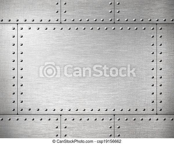 plaques,  métal,  Rivets, fond - csp19156662