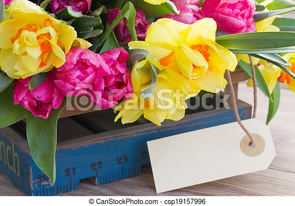 spring flowers with  empty tag - csp19157996