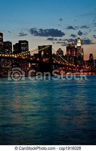 Brooklyn Bridge by twilight - csp1916028