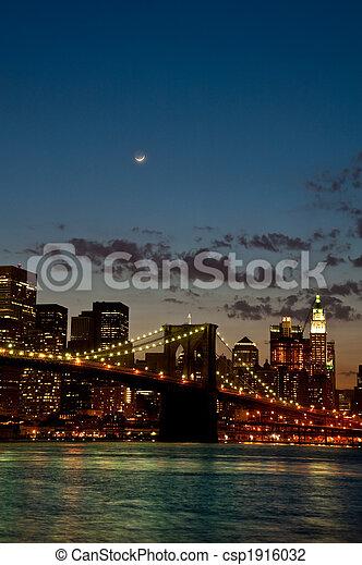 Brooklyn Bridge by twilight - csp1916032