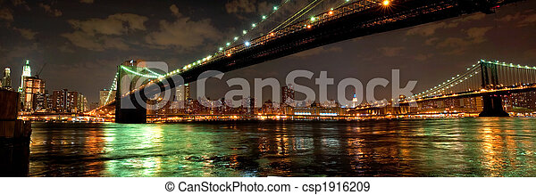 Brooklyn and Manhattan Bridges at night - csp1916209