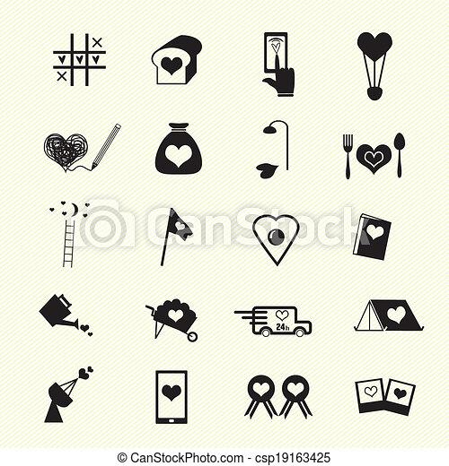 Valentine day love icons - csp19163425