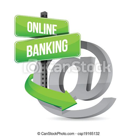 online banking at symbol sign illustration - csp19165132