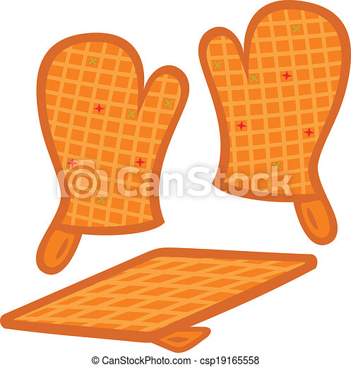 Clipart Vector of Oven mitts and pot-holder vector ...