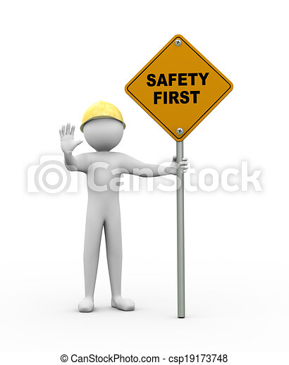 3d man with safety first road sign - csp19173748