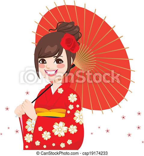 Japanese Woman Umbrella Asian Japanese Umbrella Woman