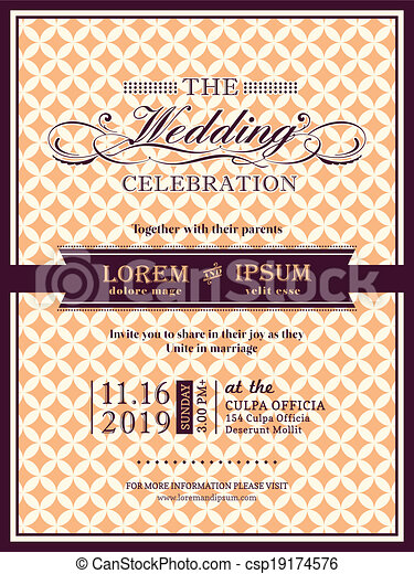 Ribbon banner Wedding invitation frame template - csp19174576