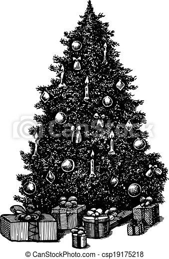 Vector Clip Art Of Vector Hand Drawn Ink Pen Christmas Tree Csp19175218 - Search Clipart ...