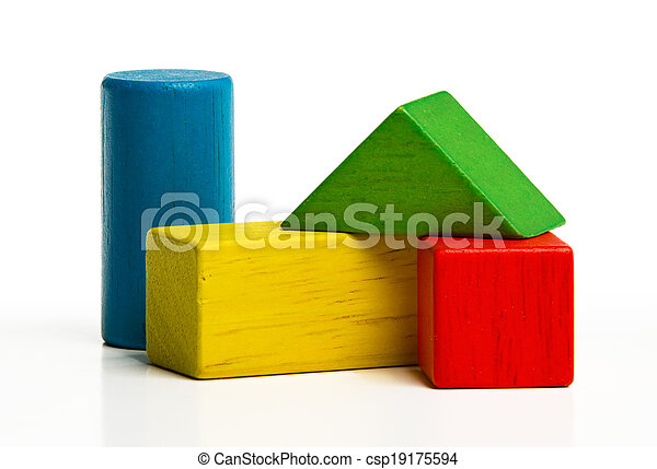 toy wooden blocks, multicolor building construction bricks over white background