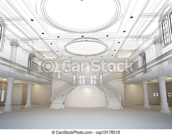Clipart of sketch design of interior hall csp19178518 for Drawing hall interior decoration