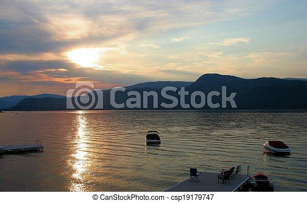 Sunset at the lake - csp19179747
