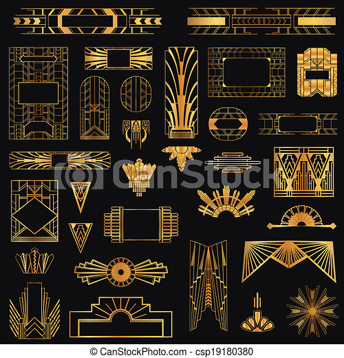 Art Deco Vintage Frames and Design Elements - in vector - csp19180380