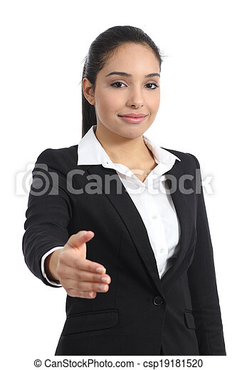 Arab business woman ready to handshake - csp19181520