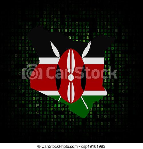 Kenya map flag on hex code illustration - csp19181993