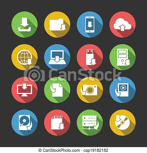Internet Download Symbols Icons Set - csp19182182