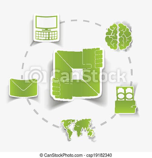 Computer Brain Icon Envelope Computer Brain