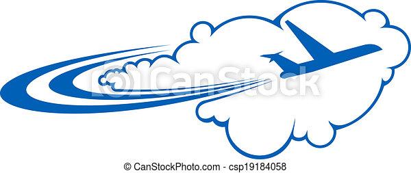 Vecteur clipart de par avion voler nuages stylis - Dessin avion stylise ...