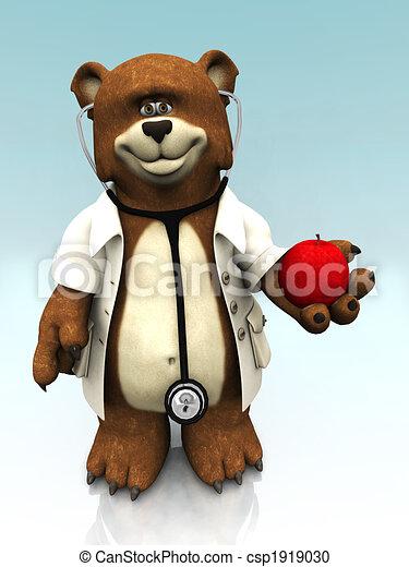Cartoon bear dressed as doctor, holding an apple. - csp1919030