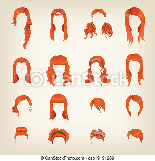 Vector Of Assortment Of Female Red Hair Set Of Sixteen