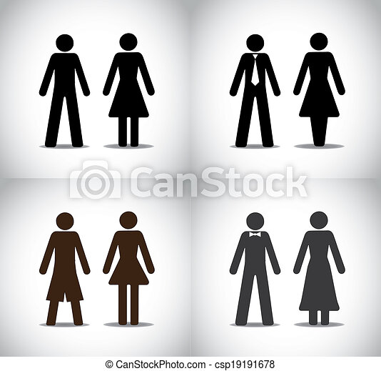 well dressed man woman or boy girl standing concept symbols set. different black colorful simple male and female standing icons (simple, professional, party and holiday) collection set - csp19191678