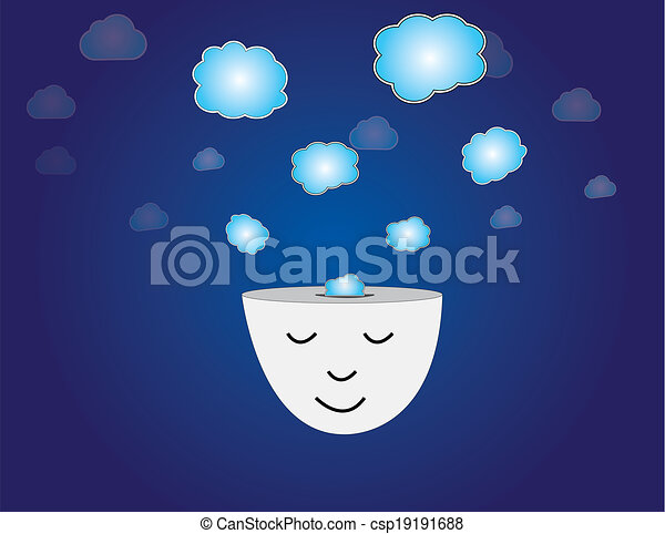 young human head dreaming meditating with thought bubbles art. peaceful and relaxed young man thinking with closed eyes with thoughts coming out of his head with dark blue sky background illustration - csp19191688