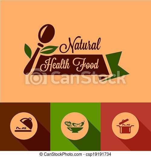 flat natural food design elements - csp19191734