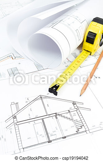 Rolls of architecture blueprint & work tools - csp19194042