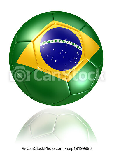 brazil flag on soccer ball on white background - csp19199996