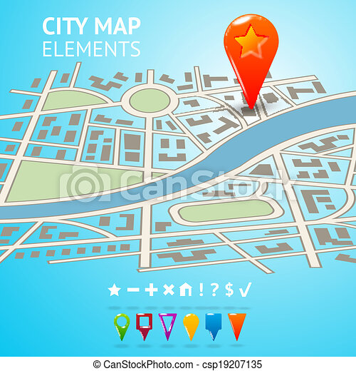 City map with navigation markers - csp19207135