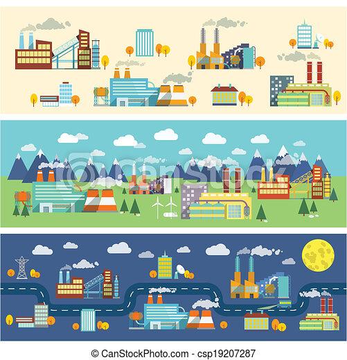 工厂, 设施, 公众, 办公室, 力量, 植物, 水平, 旗帜, 放置, 矢量