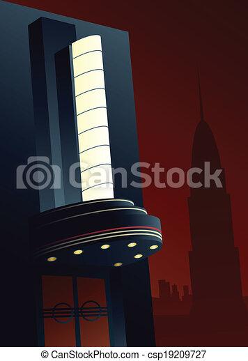 Vector Illustration of Art Deco Movie Marquee ...