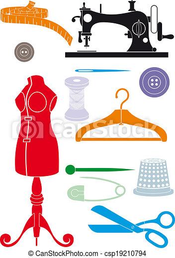 Vecteurs eps de couture accessoires grand ensemble de for Accessoire couture