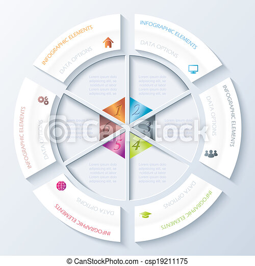 Abstract infographic design with circle and six segments. Vector illustration can be used for web design,  workflow or graphic layout, diagram, numbers options, education, presentation - csp19211175