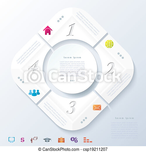 Abstract infographic design with white circle and four segments. Vector illustration can be used for web design, workflow or graphic layout, diagram, numbers options, education, presentation - csp19211207