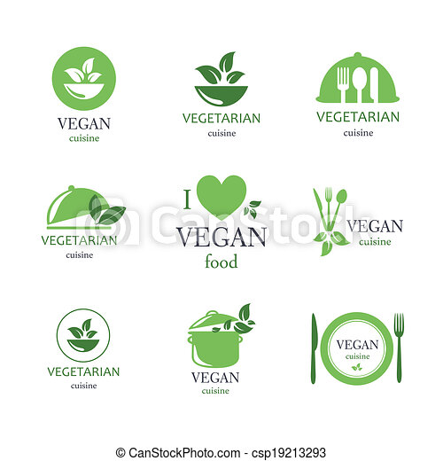 Vector Vegan and Vegetarian Food Emblems - csp19213293