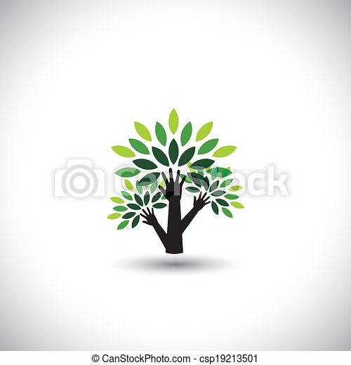 recycling, eco tree hand with leaves, helping nature - concept vector. The graphic also represents nature conservation, preserving ecological balance, sustainable living, biosphere protection - csp19213501