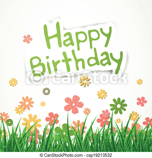 Vector Happy Birthday Greeting Card - csp19213532