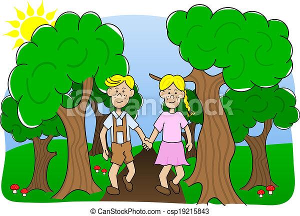 Walking in the Woods Clip Art