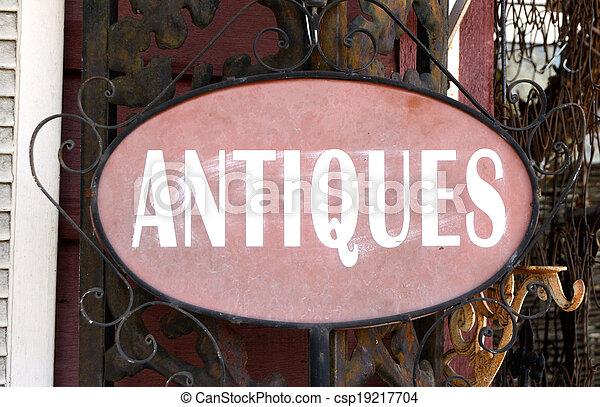 antiquitäten, landschaftsbild, zeichen - csp19217704