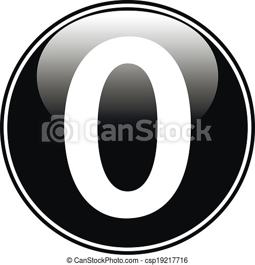 Vector Clip Art of Black number zero button - Black number zero ...