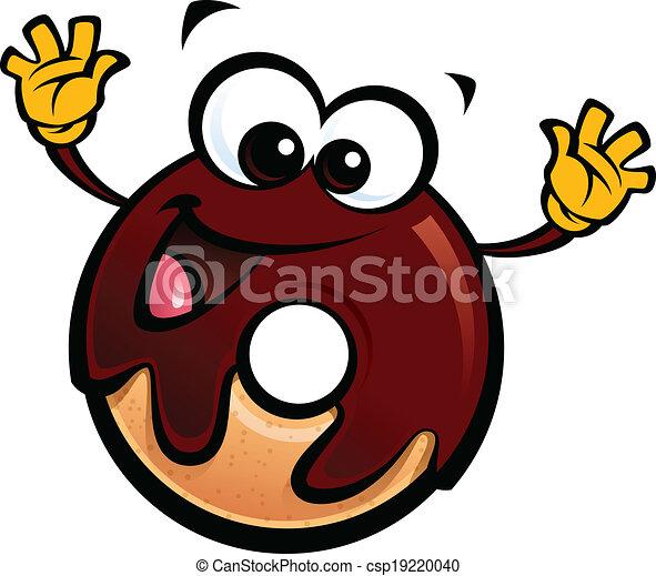 Cute Donuts Cartoon Cartoon Happy Smiling Donut