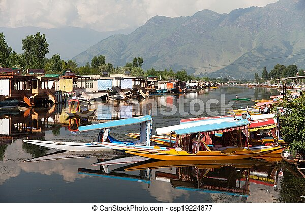 Shikara boats on Dal Lake - csp19224877