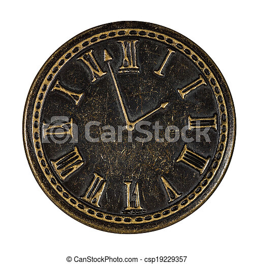 Clock, element for scrapbooking, isolated on a white background, with - csp19229357
