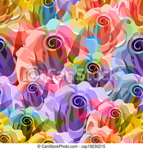 Roses Pattern. Vector, EPS 10 - csp19230215