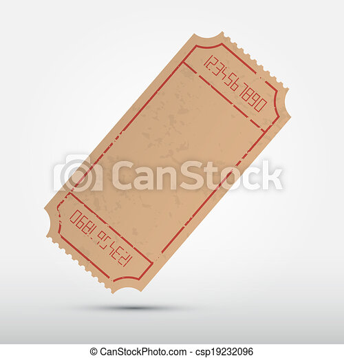 Vector Empty Ticket Illustration Isolated on Grey Background - csp19232096