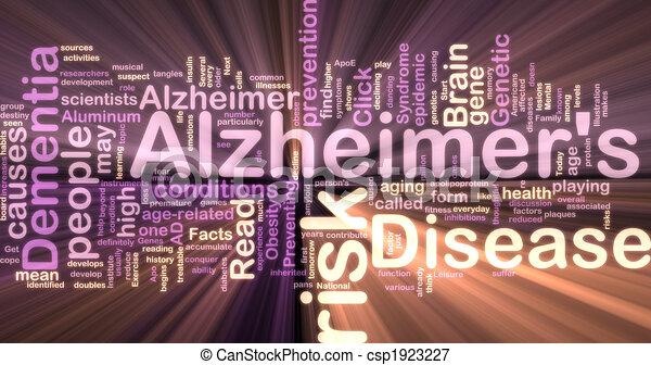 Alzheimer's disease wordcloud glowing - csp1923227